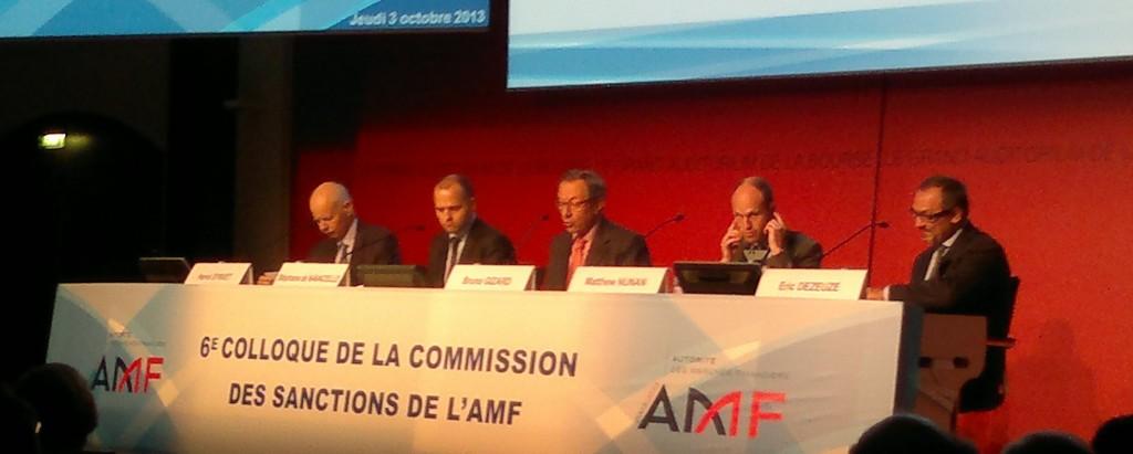 Hervé Synvet, Stéphane de Navacelle, Bruno Gizard, Matthew Nunan et Eric Dezeuze, cinq experts comparent la punition des délits d'initiés lors du 6ème colloque de la Commission des sanctions de l'AMF. (photo © GPouzin)