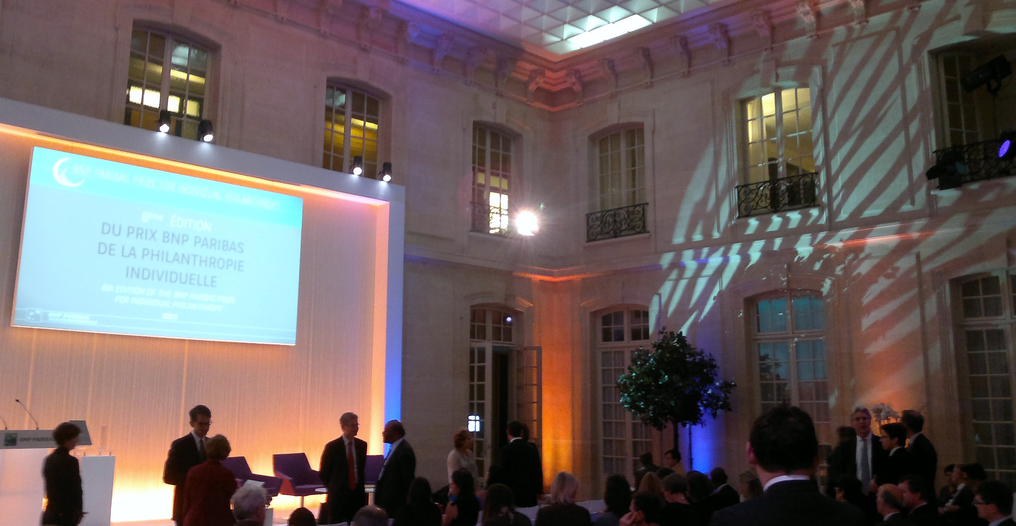 L'orangerie du 3 rue d'Antin, palais particulier où Napoléon épousa Joséphine quand il faisait office de mairie, accueille la remise du prix BNP Paribas de la philanthropie individuelle. (photo © GPouzin)