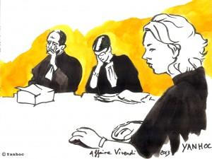 Un conseiller, la présidente Mireille Filippini et la greffière de la Cour, lors du procès en appel des ex-dirigeants de Vivendi. Dessin ©Yanhoc