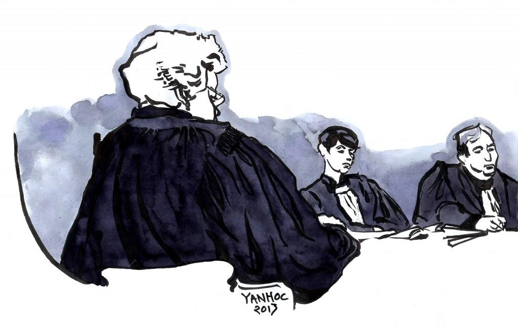 L'avocate générale, la présidente Mireille Filippini, et un conseiller de la Cour d'appel de Paris qui rejuge les ex-dirigeants de Vivendi. Dessin ©Yanhoc