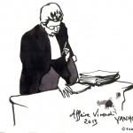 L'avocate générale lors d'une audience à la 5ème chambre correctionnelle de la Cour d'appel de Paris qui rejuge l'affaire Vivendi. Dessin ©Yanhoc