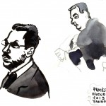 Edgar Bronfman, l'ex-PDG de Seagram, et Maître Francis Szpiner, avocat, à la Cour d'appel, en novembre 2013. Dessin ©Yanhoc