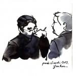 Maître Frédérik-Karel Canoy dialogue avec Jean-Marie Messier, au cours du procès en appel de l'ex-PDG de Vivendi. Dessin ©Yanhoc