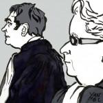 Frédérik-Karel Canoy, premier avocat des actionnaires de Vivendi, et son confrère Pascal Lavisse, avocat de l'Association des petits porteurs actifs (Appac). Dessin ©Yanhoc