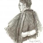 Maître Frédérik-Karel Canoy, l'avocat qui a déposé la première plainte contre Vivendi et ses dirigeants. Dessin ©Yanhoc