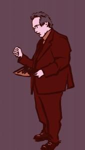 Guillaume Hannezo, ex-directeur financier de Vivendi, accusé d'avoir contribué avec Jean-Marie Messier à l'information trompeuse des actionnaires sur les difficultés du groupe. Dessin ©Yanhoc