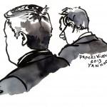 Jean-Marie Messier et Guillaum Hannezo lors du procès en appel de l'affaire Vivendi. Dessin ©Yanhoc