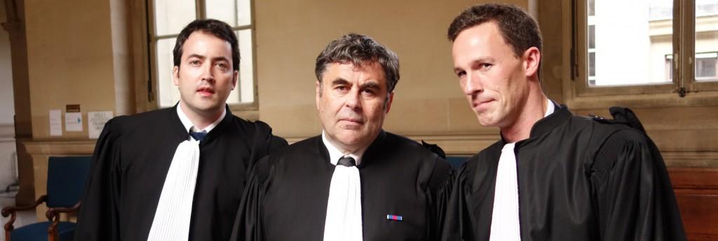 Jean-Philippe Pouget, Frédérik-Karel Canoy et Philippe Valent, trois avocats défendant les épargnants au procès Vivendi. (photo © GPouzin)