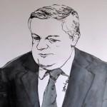 L'ex-PDG de Vivendi, Jean-Marie Messier, rejugé par la Cour d'appel de Paris, en novembre 2013. Dessin ©Yanhoc