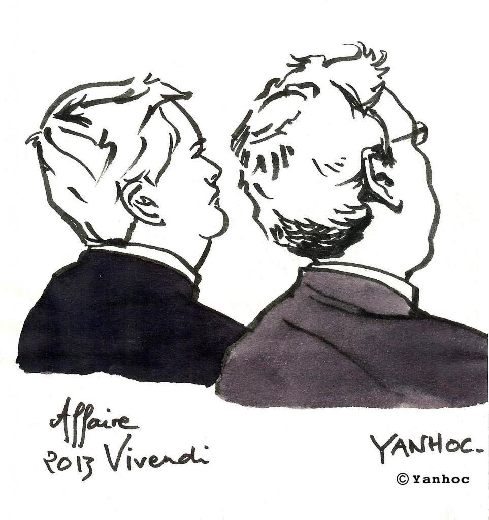 Jean-Marie Messier, ex-PDG de Vivendi, et Guillaume Hannezo, ex-directeur financier, devant la Cour d'appel, en novembre 2013. Dessin ©Yanhoc