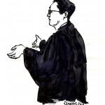 Maître Thierry Marembert, un des deux avocats d'Edgar Bronfman, au procès en appel des ex-dirigeants de Vivendi. Dessin ©Yanhoc