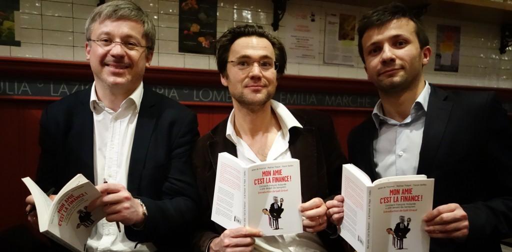 """Dédicace de """"Mon amie c'est la finance"""" (Bayard 2014, 195 p. 17€), par Adrien de Tricornot, Franck Dedieu et Mathias Thépot (photo © GPouzin)."""