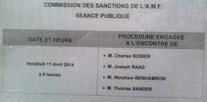 Deux initiés récidivistes, connus des lecteurs de Deontofi.com, entendus à l'audience de la Commission des sanctions de l'AMF du 11 avril 2014.