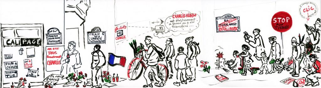Hier matin dimanche 11 janvier, notre rapporteuse graphique a fait le siège de la rue Nicolas Appert, avec pour DéFi… de rendre un dessin déposé sur la grande pile en hommage à la liberté de Charlie et d'en rapporter quelques autres à DéontoFi, pour témoigner de la nécessité du dessin de presse comme combat contre la cécité déontologique. (Dessin © An Suzuki)