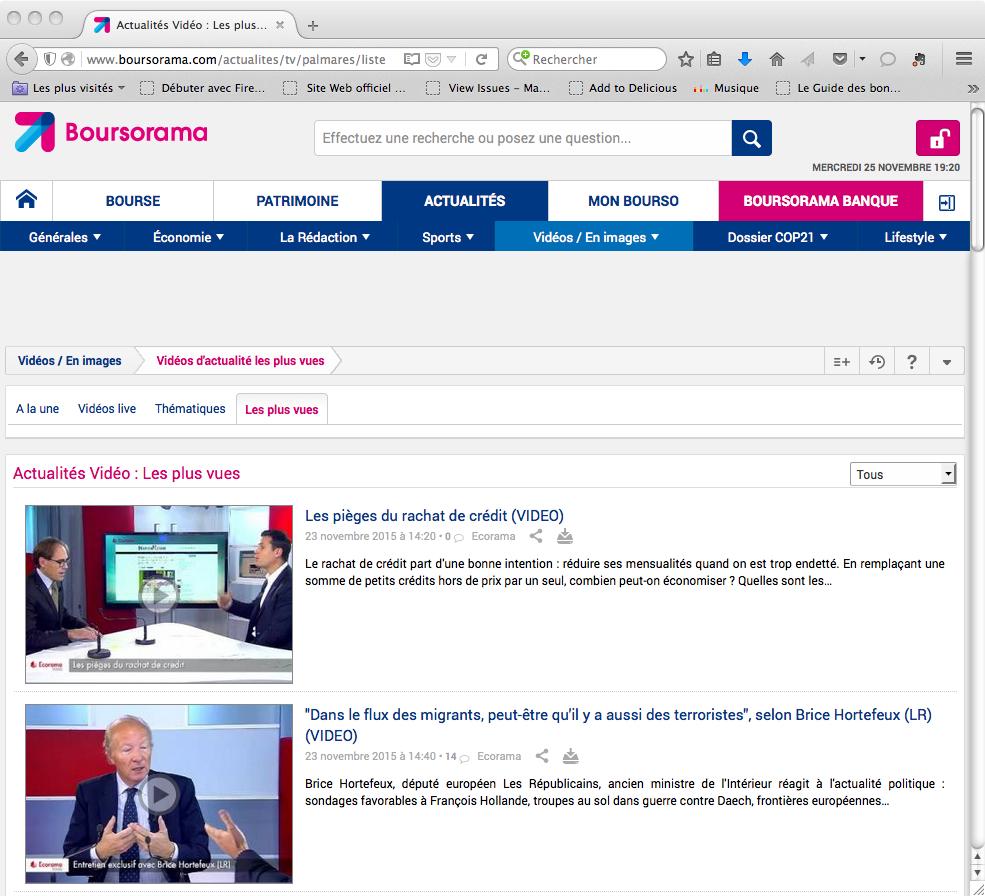 L'interview de Deontofi du 25 novembre 2015 sur les pièges du rachat de crédit, était la vidéo la plus vue sur Boursorama