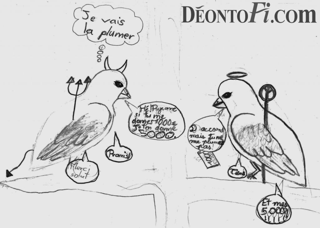 """""""Pigeonne je vais te plumer"""", illustration par Alice Pouzin."""