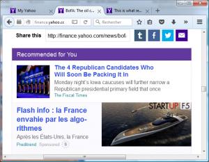 Des milliers de publicités mensongères et démarchages illicites pullulent sur le web. Ici une arnaque au trading sur Yahoo !