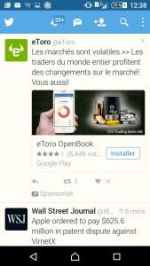 """Autre variante des """"pub déguisées en info"""" pour les escrocs du trading, ici sur Twitter."""