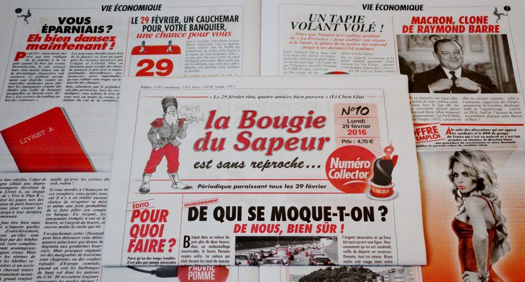 Tous les 29 février, ne manquez pas La Bougie du Sapeur, périodique satirique à lire pour bien rire pendant 4 ans.