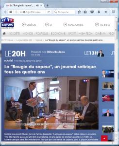 La Bougie du Sapeur, encore quelques jours en kiosque, en vedette au journal de 20h sur TF1 le 29 février 2016.